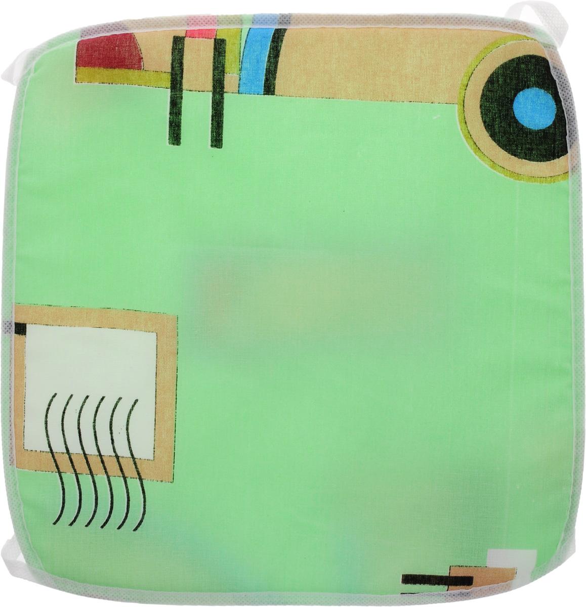 Подушка на стул Eva Геометрия, цвет: белый, светло-зеленый, 34 х 34 см. Е06VT-1520(SR)Подушка на стул Eva Геометрия, выполненная из хлопка с наполнителем из поролона, легко крепится на стул с помощью завязок.Рекомендации по уходу:- деликатная стирка при температуре воды до 30°С.- отбеливание, барабанная сушка, химчистка запрещены.- рекомендуется глажка при температуре подошвы утюга до 110°С.