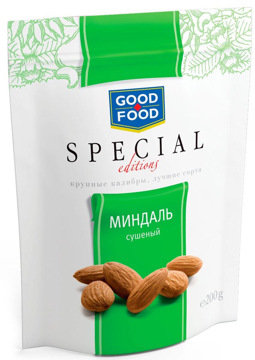 Good Food Specialминдальсушеный,200г0120710Миндаль - это бесценный источник белка и заряд энергии для активной умственной работы. Орехи серии Good Food Special - это не просто полезный продукт, это орехи самых крупных калибров премиального качества из лучшего сырья. Вы можете быть уверены в крупном размере каждого орешка, а также его непревзойденной чистоте и отменном вкусе.