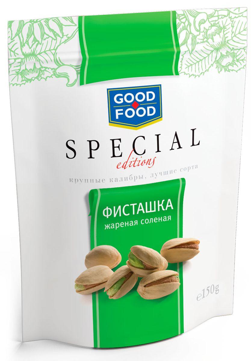 Good Food Special фисташкижареныесоленые,150г0120710Фисташки Good Food Special - это отборные орехи самых крупных размеров премиального качества. Фисташки - невероятно полезны: десять орешков в день наделяют взрослого человека четвертью нормы витамина В6.