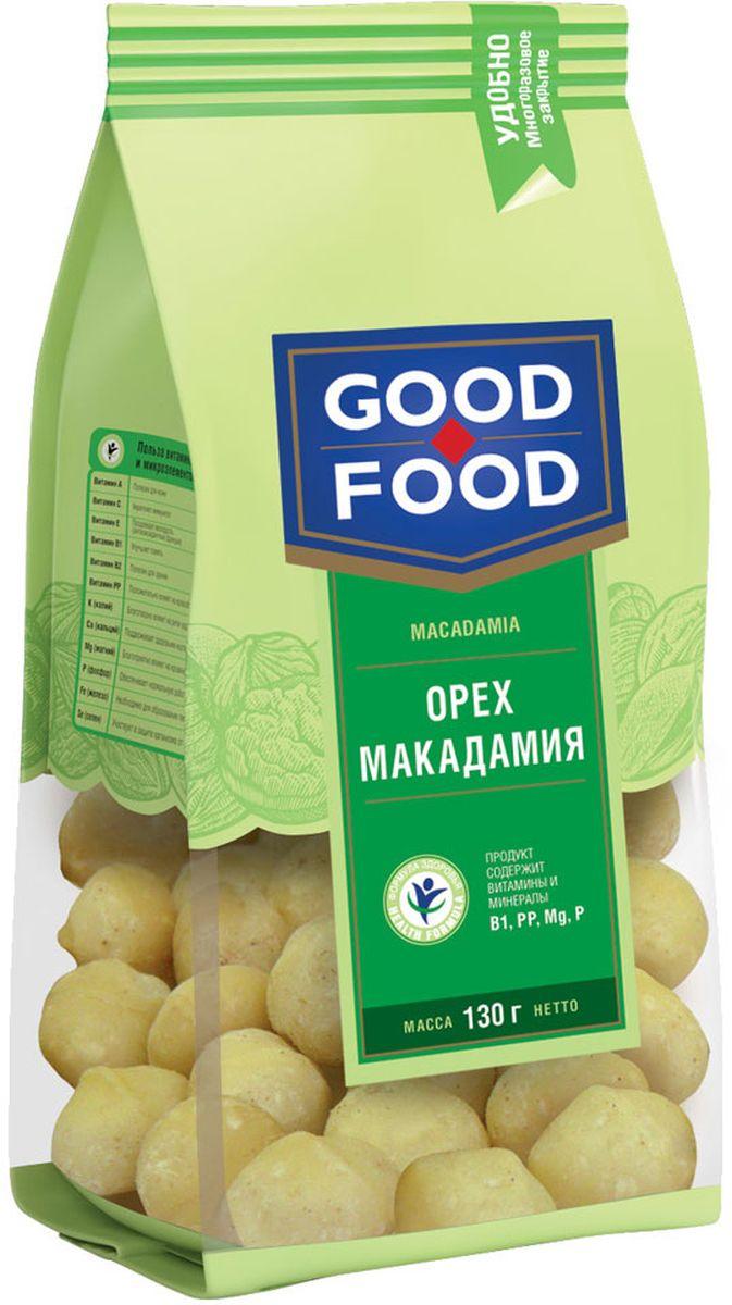 Good Food орехмакадамия,130г0120710Макадамия - один из самых дорогих орехов в мире. В промышленных масштабах производство этих орехов до сих пор не освоено: их сложно выращивать и очищать. Макадамия очень полезна, в ней содержится целый комплекс ценных природных веществ: эфирные масла, жиры, углеводы, белки, протеины, натуральные сахара, клетчатка, витамины, минеральные вещества. Особенно много витаминов группы В и витамина Е, а из минералов – кальция и калия.