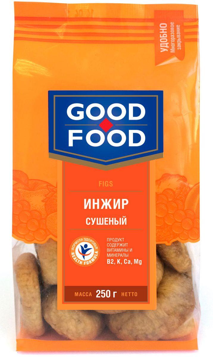 Good Food инжирсушеный,250гU920555Сушеный инжир является рекордсменом среди других сухофруктов по содержанию клетчатки, в связи с этим его употребление гарантирует ощущение сытости и улучшает работу желудочно-кишечного тракта. Польза сушеного инжира заключаются в изобилии в нем микроэлементов и витаминов, необходимых для нашего организма. Сушеный инжир способен приумножить вырабатываемую нашим организмом энергию, улучшить настроение, работоспособность и умственную деятельность. Ежедневное употребление инжира может снизить риск возникновения сердечно-сосудистых заболеваний.