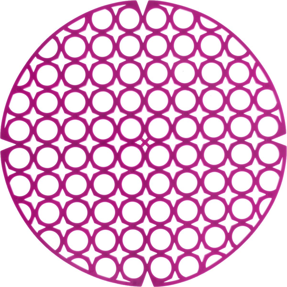 Коврик для раковины York, цвет: фиолетовый, диаметр 27,5 см54 009312Стильный и удобный коврик для раковины York изготовлен из сложных полимеров. Он одновременно выполняет несколько функций: украшает, защищает мойку от царапин и сколов, смягчает удары при падении посуды в мойку. Коврик также можно использовать для сушки посуды, фруктов и овощей. Он легко очищается отгрязи и жира.Диаметр: 27,5 см.