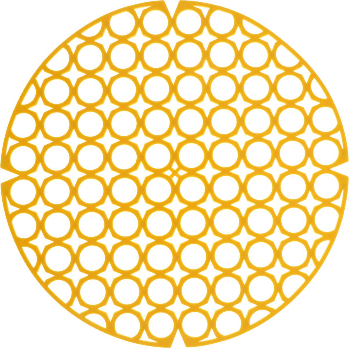 Коврик для раковины York, цвет: желтый, диаметр 27,5 смTF-14AU-12Стильный и удобный коврик для раковины York изготовлен из сложных полимеров. Он одновременно выполняет несколько функций: украшает, защищает мойку от царапин и сколов, смягчает удары при падении посуды в мойку. Коврик также можно использовать для сушки посуды, фруктов и овощей. Он легко очищается отгрязи и жира.Диаметр: 27,5 см.