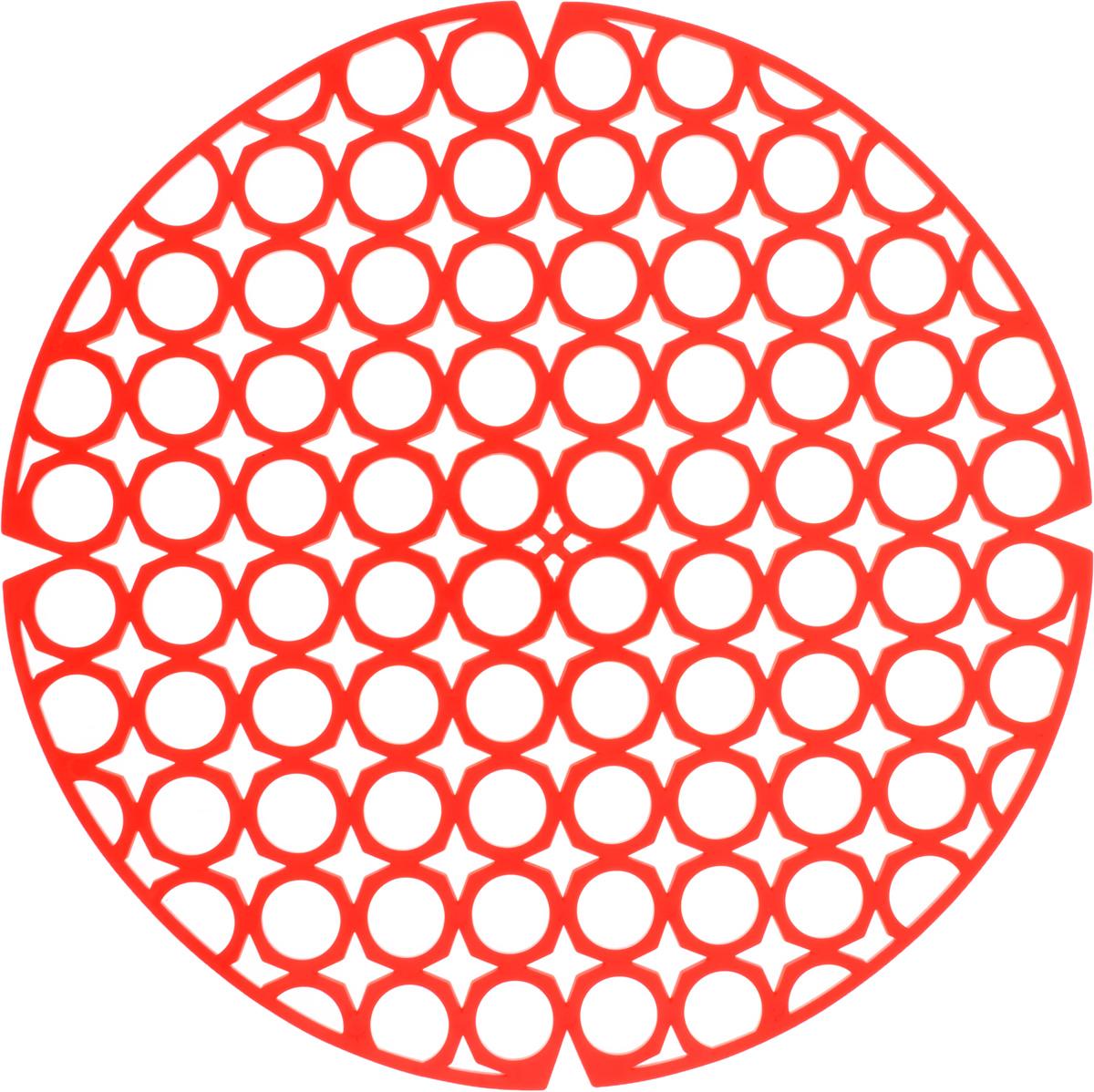 Коврик для раковины York, цвет: красный, диаметр 27,5 см391602Стильный и удобный коврик для раковины York изготовлен из сложных полимеров. Он одновременно выполняет несколько функций: украшает, защищает мойку от царапин и сколов, смягчает удары при падении посуды в мойку. Коврик также можно использовать для сушки посуды, фруктов и овощей. Он легко очищается отгрязи и жира.Диаметр: 27,5 см.