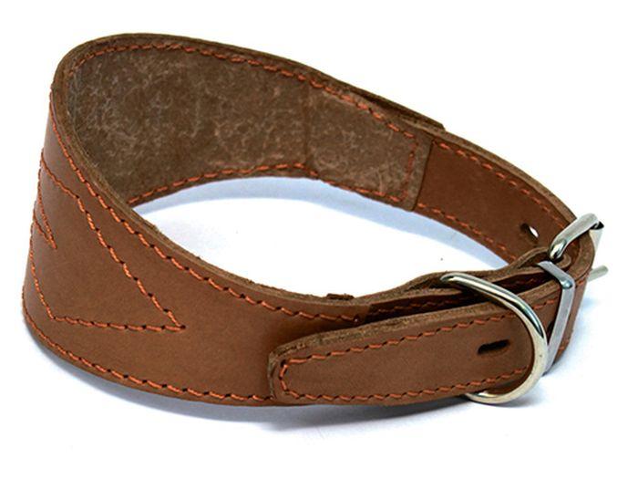 Ошейник для собак Каскад, для борзой, диаметр 35-43 см, цвет: коричневый0120710Ошейник кожаный коричневый для борзой обхват шеи 35-43 см