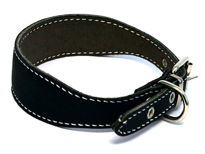 Ошейник для собак Каскад, двойной, для левретки/таксы, диаметр 25-32 см, цвет: черный0120710Ошейник кожаный черный для левретки таксы двойной
