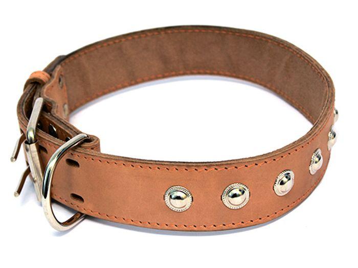 Ошейник для собак Каскад, двойной с украшениями и кольцом перед пряжкой, ширина 2,5 см, диаметр 39-46 см, цвет: черный0120710Ошейник кожаный двойной черный с украшениями, кольцо перед пряжкой ширина 25 мм, обхват шеи от 39 до 46.