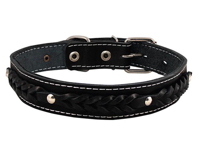Ошейник для собак Каскад Классика, цвет: черный, ширина 2,5 см, обхват шеи 39-46 см. 00025071HL05AОшейник для собак Каскад Классика изготовлен из натуральной кожи, устойчивой к влажности и перепадамтемператур. Клеевой слой, сверхпрочные нити, крепкие металлические элементы делают ошейник надежным и долговечным.Изделие отличается высоким качеством, удобством и универсальностью.Размер ошейника регулируется при помощи пряжки. Минимальный обхват шеи: 39 см. Максимальный обхват шеи: 46 см. Ширина: 2,5 см.