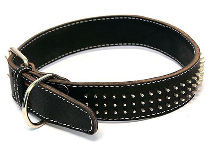 Ошейник для собак Каскад, двойной с шипами-еж, ширина 2,5 см, диаметр 39-46 см, цвет: коричневый01020001кОшейник кожаный двойной коричневый с шипами-ёж 25 мм обхв.шеи 39-46см