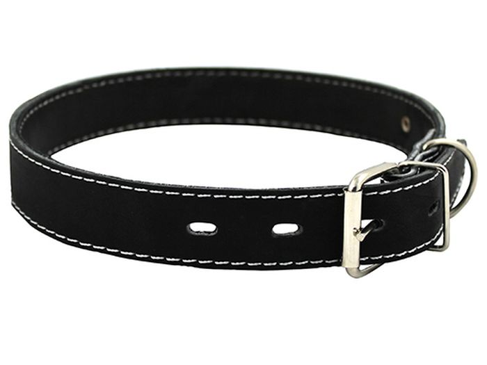 Ошейник для собак Каскад Классика, цвет: черный, ширина 3 см, обхват шеи 44-53 см. 000300120120710Ошейник для собак Каскад Классика изготовлен из натуральной кожи, устойчивой к влажности и перепадамтемператур. Клеевой слой, сверхпрочные нити, крепкие металлические элементы делают ошейник надежным и долговечным.Изделие отличается высоким качеством, удобством и универсальностью.Размер ошейника регулируется при помощи пряжки. Минимальный обхват шеи: 44 см. Максимальный обхват шеи: 53 см. Ширина: 3 см.