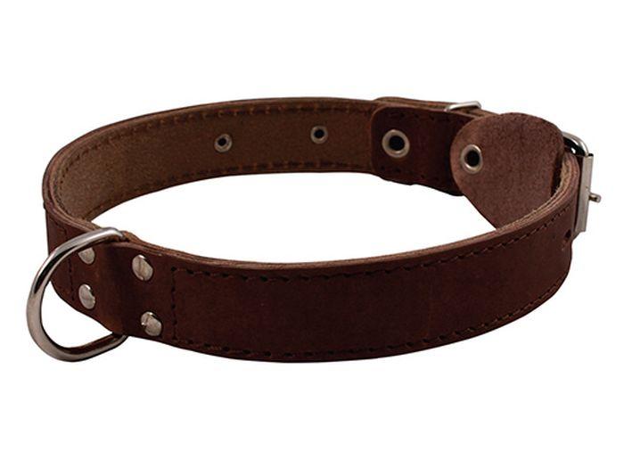 Ошейник для собак Каскад, двойной, с кольцом посередине, ширина 3 см, диаметр 44-53 см, цвет: коричневыйМШ003Ошейник кожаный двойной коричневый с кольцом посередине ширина 30 мм, обхват шеи от 44 до 53.