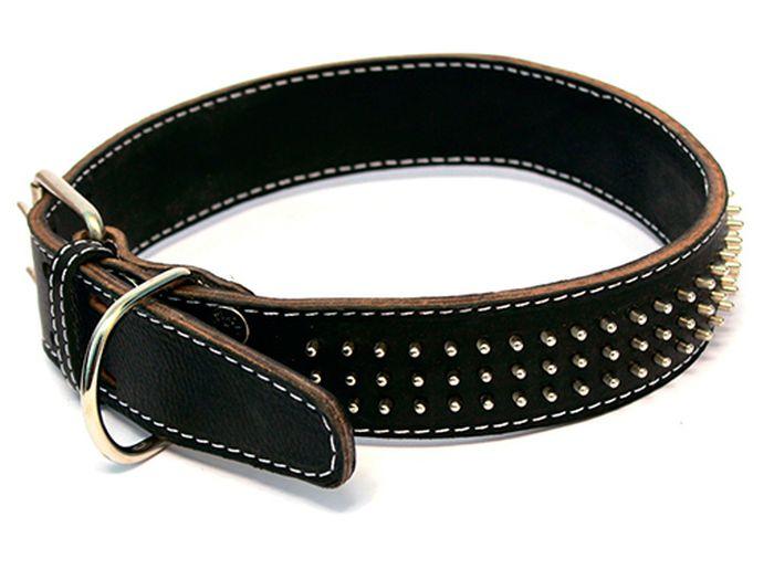 """Ошейник для собак Каскад """"Классика"""", двойной, цвет: черный, ширина 3,5 см, обхват шеи 50-59 см. 00035114"""