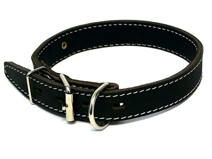 Ошейник для собак Каскад, двойной, с кольцом перед пряжкой, ширина 4,5 см, диаметр 57-66 см, цвет: черный0120710Ошейник кожаный двойной черный с кольцом перед пряжкой ширина 45 мм, обхват шеи от 57 до 66 см.