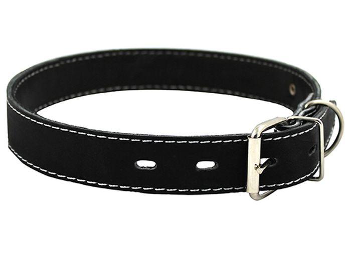 Ошейник для собак Каскад, ширина 2 см, диаметр 32-40 см, цвет: черныйро16чОшейник кожаный черный ширина 20 мм, обхват шеи от 32 до 40 см.