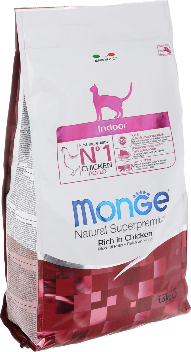 Корм сухой Monge для взрослых домашних кошек, с курицей, 1,5 кг0120710Сухой корм Monge - это полноценный корм с превосходным вкусом для домашних кошек, которые нуждаются в контролируемом питании, особенно при стерилизации. Потребление растительных волокон позволяет исключить накопления комочков шерсти в желудке. Оптимальное соотношение жировых кислот Омега-3 и Омега-6 способствует нормальному функционированию сердца, и обеспечивает идеальный баланс кишечной флоры. Также, содержит L-карнитин, который препятствует накоплению жира, сохраняя при этом функции печени животного. Безупречная рецептура данного корма удовлетворяет как аппетит кошки, так и помогает сохранить зубы здоровыми и чистыми, дыхание свежим, а шерсть блестящей.Товар сертифицирован.