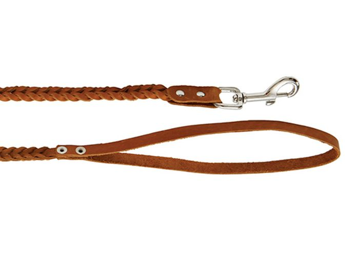 Поводок для собак Каскад плетеный, ширина 1 см, длина 125 см, цвет: коричневый0120710Поводок кожаный коричневый плетеный ширина 10 мм, длина 1.25 м.