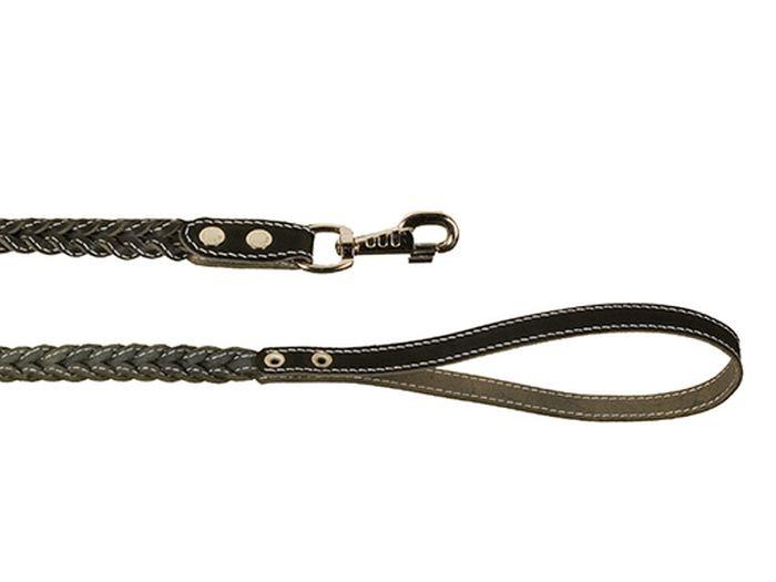 Поводок для собак Каскад, плетеный с прошивкой, ширина 1,5 см, длина 125 см, цвет: черныйоф25гПоводок кожаный черный плетеный с прошивкой ширина 15 мм, длина 1.25 м.
