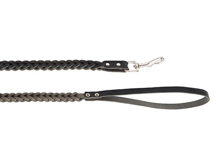 Поводок для собак Каскад, плетеный, тройной ширина 1,5 см, длина 100 см, цвет: черный поводок брезентовый каскад классика цвет зеленый ширина 2 5 см длина 3 м