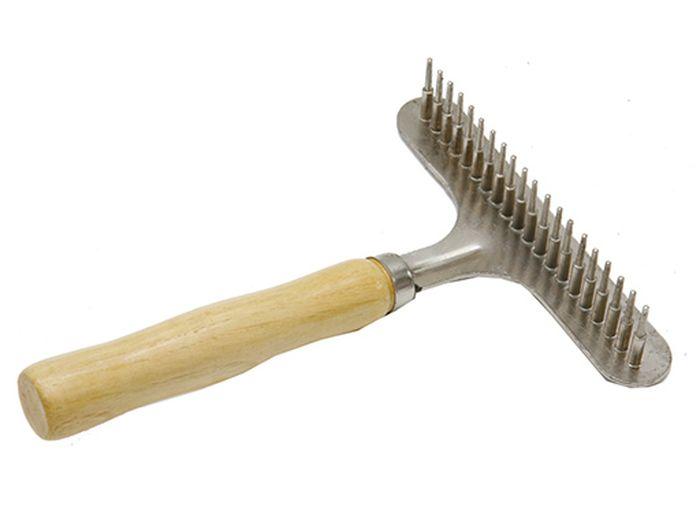 Расческа для животных Каскад, деревянная ручка, грабли малая
