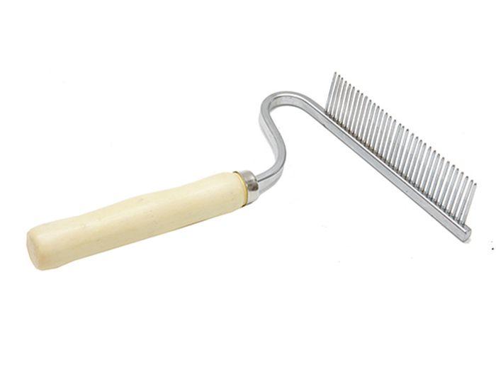 Расческа для животных Каскад, деревянная ручка, грабли, изогнутые