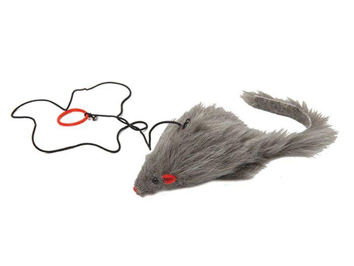 Игрушка для животных Каскад Мышь, с коротким мехом, на шнурке, 10 см12171996Мышь короткий мех на шнурке 10см