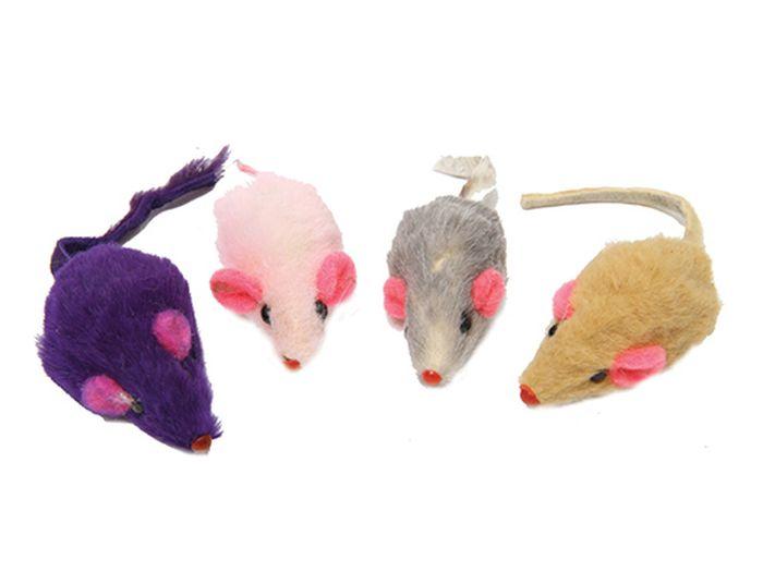 Игрушка для животных Каскад Мышь, цвет: белый, 4,5 см игрушка для животных каскад удочка с микки маусом 47 см