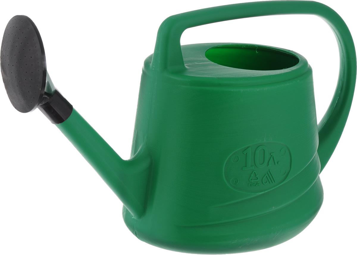 Лейка Евро, с рассеивателем, цвет: зеленый, 10 л011H1800Садовая лейка Евро предназначена для полива насаждений на приусадебном участке. Она выполнена из пластика и имеет небольшую массу, что позволяет экономить силы при поливе. Удобство в использовании также обеспечивается за счет эргономичной ручки лейки. Выпуклая насадка позволяет производить равномерный полив, не прибивая растения.
