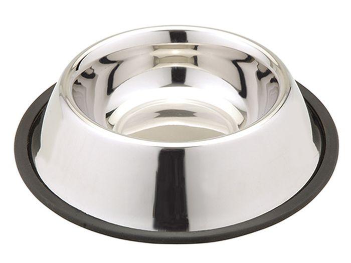 Миска для животных Каскад, из нержавеющей стали, на резине, объем 0,18 лтр - 0,75Миска из нерж.стали на резине 0,18л.