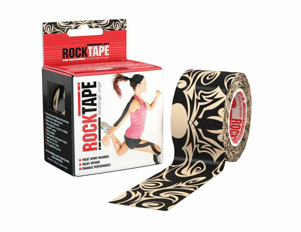 """Кинезиотейп Rocktape """"Design"""", цвет: бежевый, черный, 5 x 500 см"""