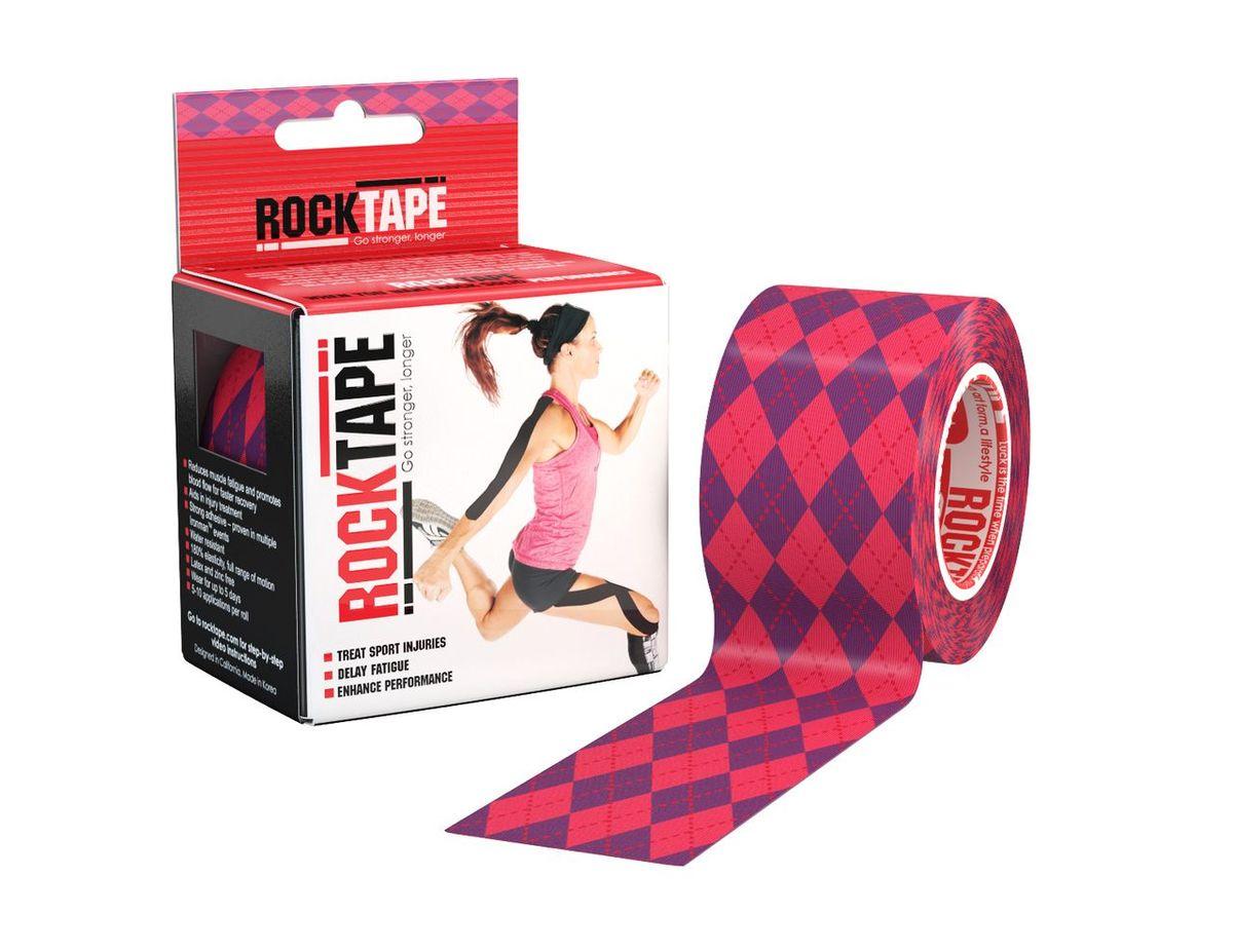 """Кинезиотейп Rocktape """"Design"""", цвет: розовый, фиолетовый, 5 x 500 см"""