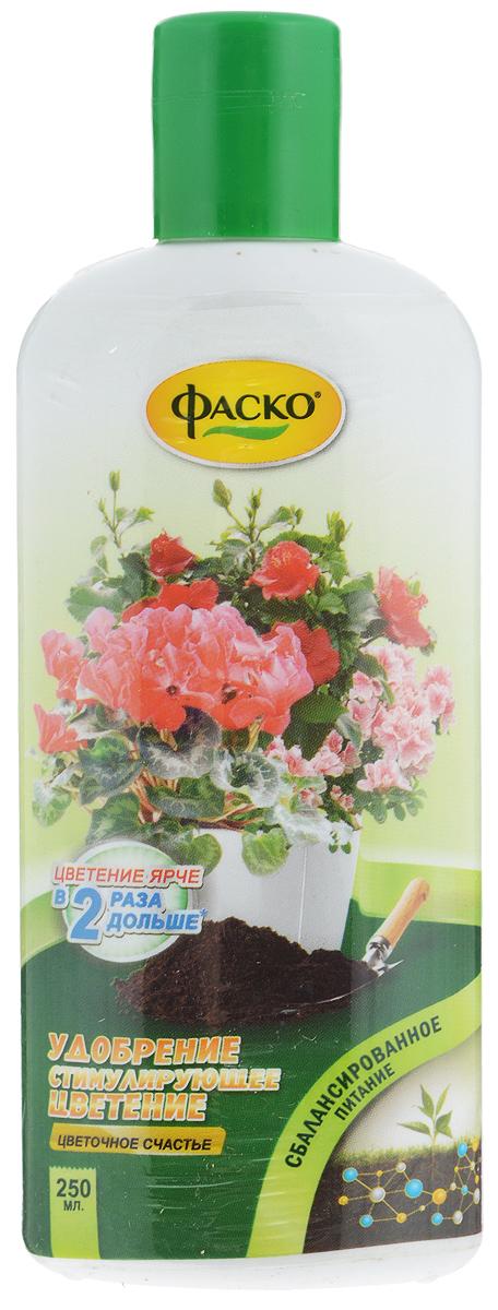 Удобрение Цветочное счастье, стимулирующее цветение, 250 млK100Специализированное комплексное жидкое удобрение с микроэлементами. Содержит сбалансированный набор питательных веществ необходимых для активного роста комнатных декоративных растений. Стимулирует закладку цветочных почек,Обеспечивает обильное и длительное цветение,Стимулирует рост корневой системы. Состав: Макроэлементы: азот - 4%; калий - 7%; фосфор - 4%. Микроэлементы: сера - 0,1%; железо, марганец - 0,06%; медь, бор, цинк - 0,006%; молибден - 0,012%; кобальт - 0,0006%. Объем: 250 мл.