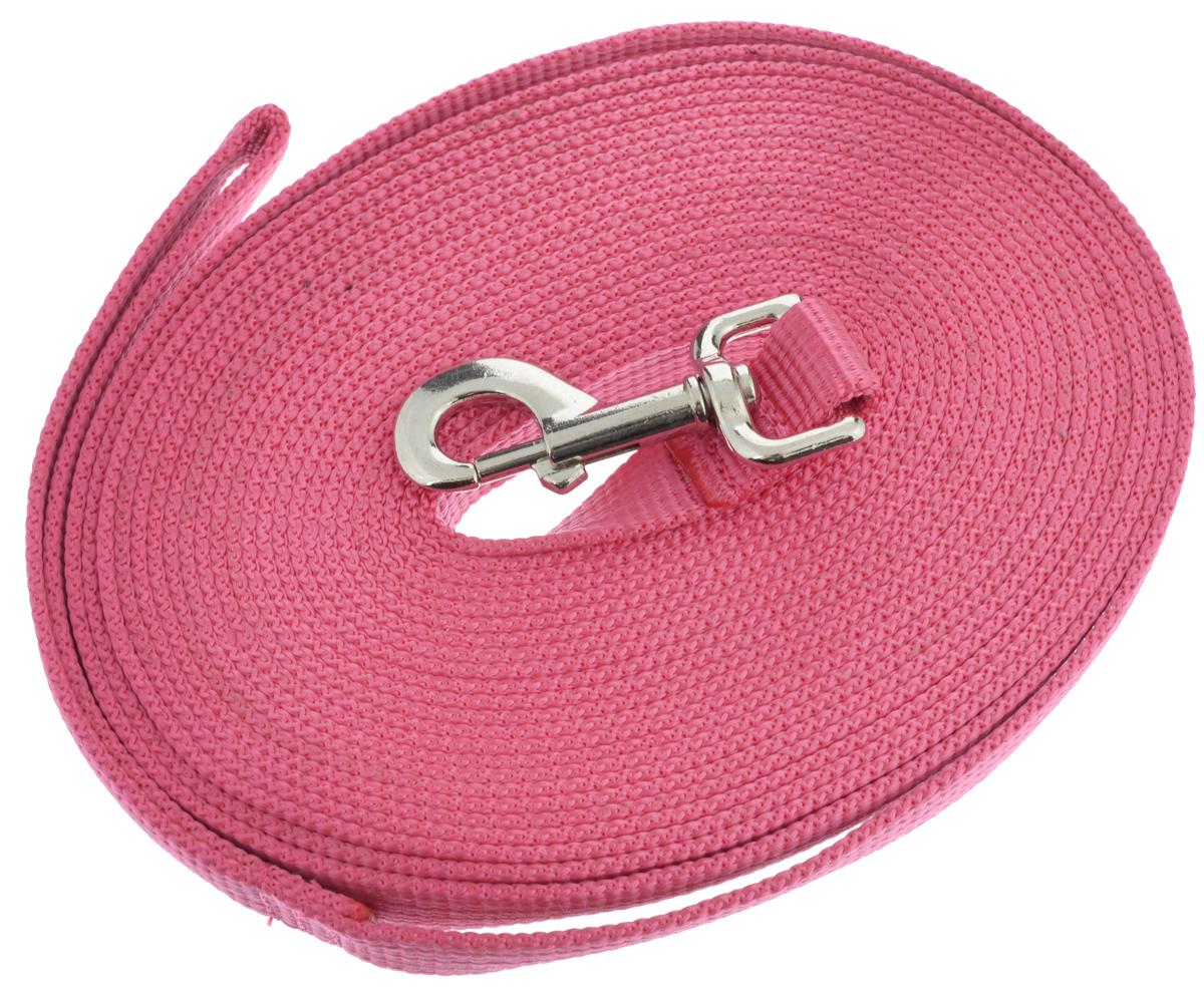 Поводок для собак Аркон, цвет: розовый, ширина 2,5 см, длина 10 мпк10м25_розовыйПоводок для собак Аркон изготовлен из высококачественного брезента. Карабин выполнен из легкого сверхпрочного сплава. Поводок - необходимый аксессуар для собаки. Ведь в опасных ситуациях именно он способен спасти жизнь вашему любимому питомцу. Иногда нужно ограничивать свободу своего четвероногого друга, чтобы защитить его или себя от неприятностей на прогулке. Длина поводка: 10 м.Ширина поводка: 2,5 см.