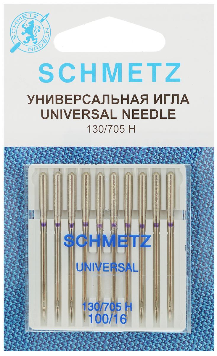 Набор универсальных игл Schmetz, №100, 10 шт484790Набор Schmetz  состоит из десяти игл для бытовых швейных машин. Изделия выполнены из высококачественной стали. Предназначены для большинства видов текстильных материалов, в том числе для джерси, синтетики и других.Комплектация: 10 шт. Размер игл: №100.Система игл: 130/705 H.