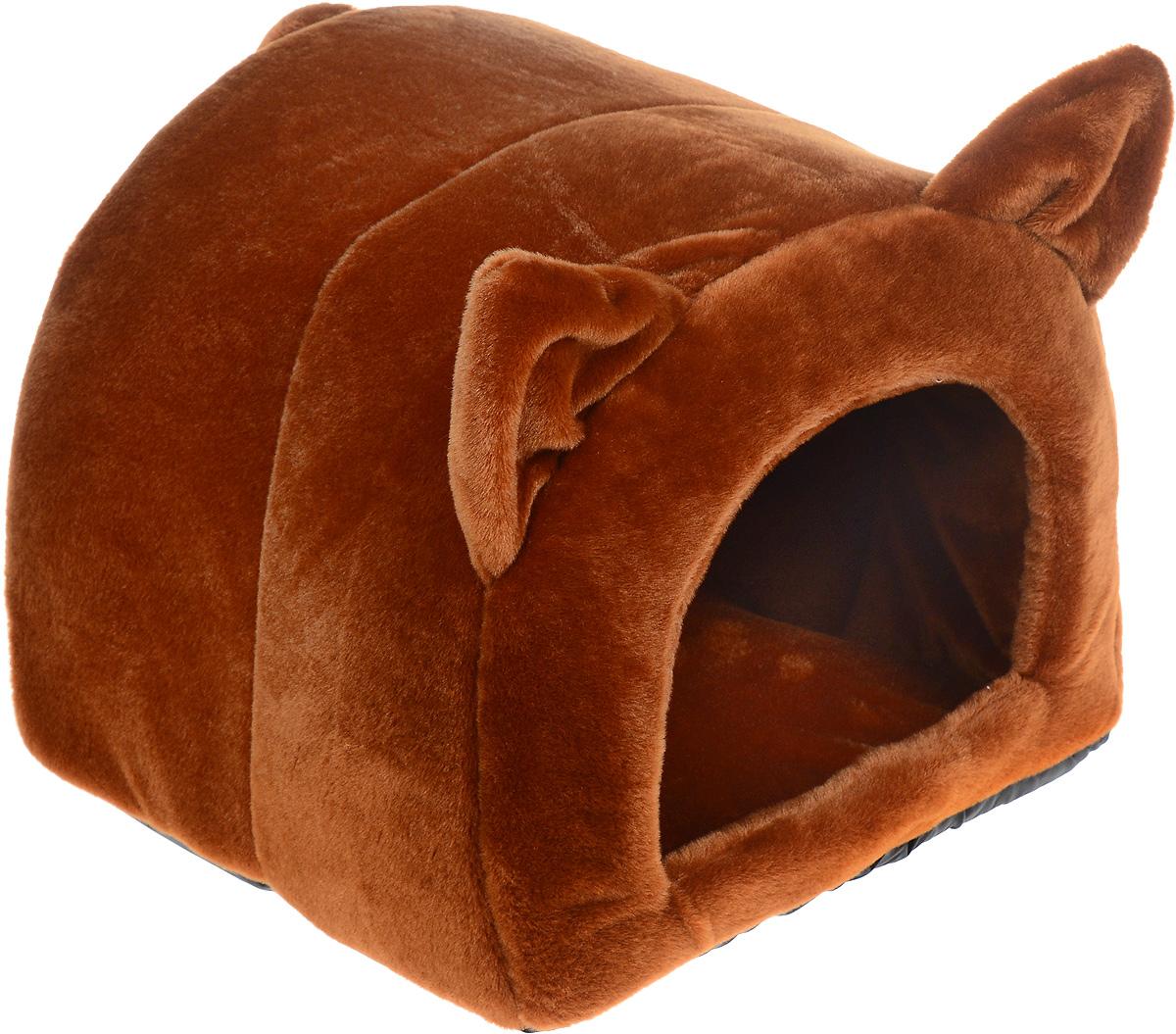 Домик-лежанка Зоомарк Ушастик, цвет: коричневый, 44 х 40 х 36 смДг-06000_темно-коричневый, полоскаДомик-лежанка Зоомарк Ушастик, выполненный из плюша, с непревзойденным дизайном предназначен для кошек и мелких собак. Очень удобен и вместителен. Изделие гармонично украсит интерьер, подчеркнет вашу индивидуальность и будет радовать вас и вашего питомца.