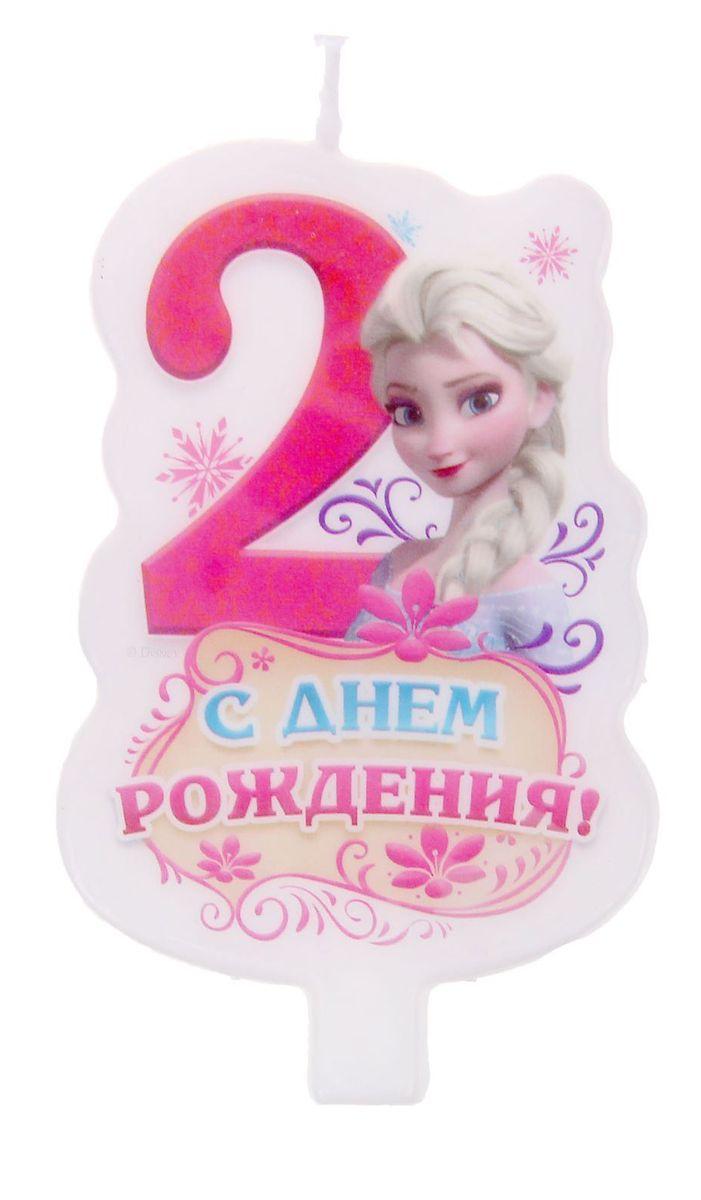 Disney Свеча для торта С днем рождения Цифра 2 Холодное сердце disney гирлянда детская на ленте с днем рождения холодное сердце 230 см