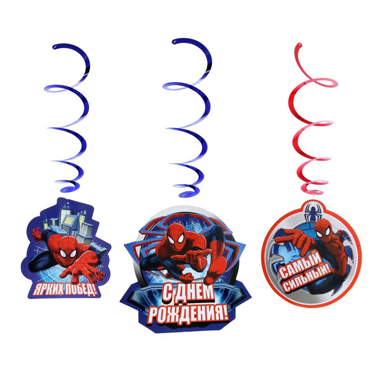 Marvel Гирлянда детская Подвески спиральные С Днем Рождения Человек Паук