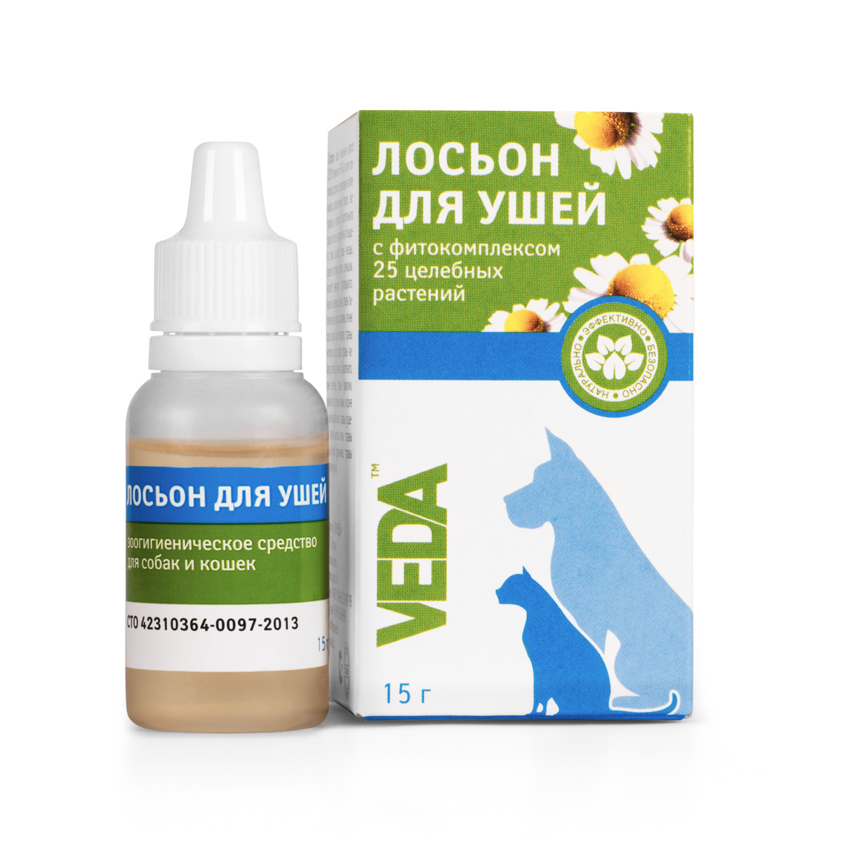 Лосьон для ушей VEDA Фитогигиена, для кошек и собак, 15 г0120710Лосьон для ушей VEDA Фитогигиена применяют для гигиенической обработки собак, кошек и других мелких домашних животных: мягкая очистка ушной раковины и удаление загрязнений из ушного канала. Регулярное использование средства способствует предотвращению проблем с ушами, благодаря биоактивным компонентам фитокомплекса из 25 целебных растений, обладающих антисептическими, противовоспалительными и заживляющими свойствами.Состав: вода очищенная, фитокомплекс: цветков ромашки, листьев подорожника большого, соплодий ольхи, травы череды, травы зверобоя, травы тысячелистника, травы чабреца, корней одуванчика, почек березовых, травы эхинацеи пурпурной, листьев шалфея, побегов багульника болотного, цветков ноготков, листьев эвкалипта прутовидного, корней и корневищ солодки, листьев крапивы, почек сосны, травы хвоща полевого, травы чистотела, травы фиалки, корней лопуха, корня и корневищ кровохлебки, травы сушеницы топяной, травы душицы, цветков липы; гидроксиэтилцеллюлоза, эмульгин HRE 40, консервант.Товар сертифицирован.