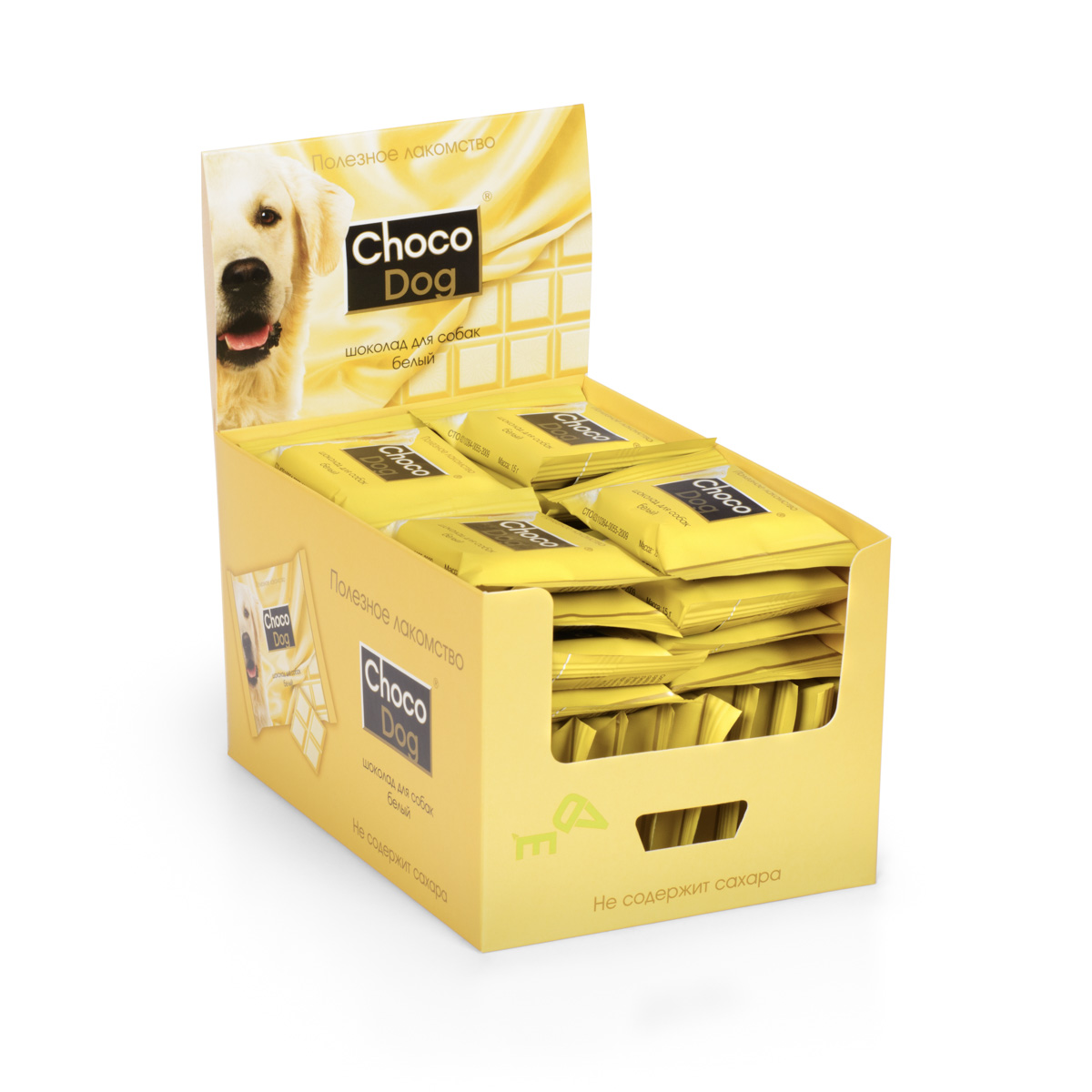 Лакомство для собак VEDA Choco Dog, белый шоколад, 40 х 15 г0120710Лакомство для собак VEDA Choco Dog со вкусом шоколада используется в качестве угощения, с целью поощрения, при дрессуре животных. При производстве учтены физиологические особенности собак, поэтому состав всех лакомств не содержит сахара и какао. Их заменители растительного происхождения обогащают лакомство полезными свойствами: - вместо сахара в шоколаде используется экстракт сладкой травы стевии, который безопасен для животных; - вкус шоколада придает кэроб (порошок плодов рожкового дерева), замещая вредное для собак какао. Состав белого шоколада разработан с учетом животных, склонных к аллергическим реакциям. Риск пищевой аллергии сведен к минимуму.Сладкое лакомство для собак без вреда для здоровья. Товар сертифицирован.