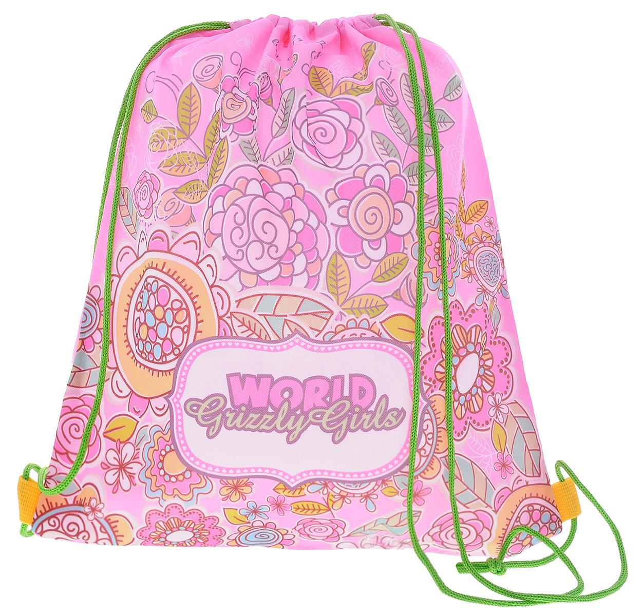 Grizzly Мешок для обуви World Grizzly Girls цвет розовый72523WDМешок для обуви Grizzly World Grizzly Girls идеально подойдет как для хранения, так и для переноски сменной обуви и одежды.Мешок выполнен из прочного материала и содержит одно вместительное отделение, затягивающееся с помощью текстильных шнурков. Шнурки фиксируются в нижней части сумки, благодаря чему ее можно носить за спиной как рюкзак.Ваш ребенок с радостью будет ходить с таким аксессуаром в школу!Уход: протирать мыльным раствором (без хлора) при температуре не выше 30 градусов.