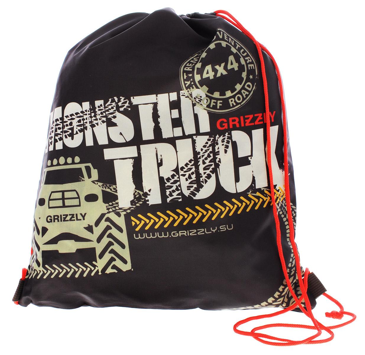 Grizzly Мешок для обуви Monster Truck72523WDМешок для обуви Grizzly Monster Truck идеально подойдет как для хранения, так и для переноски сменной обуви и одежды.Мешок изготовлен из ткани Оксфорд с водоотталкивающей пропиткой и содержит одно вместительное отделение, затягивающееся с помощью текстильных шнурков. Плотная прочная ткань надежно защитит сменную обувь и одежду школьника от непогоды, а удобные шнурки позволят носить мешок, как в руках, так и за спиной.Ваш ребенок с радостью будет ходить с таким аксессуаром в школу!Уход: протирать мыльным раствором (без хлора) при температуре не выше 30 градусов.