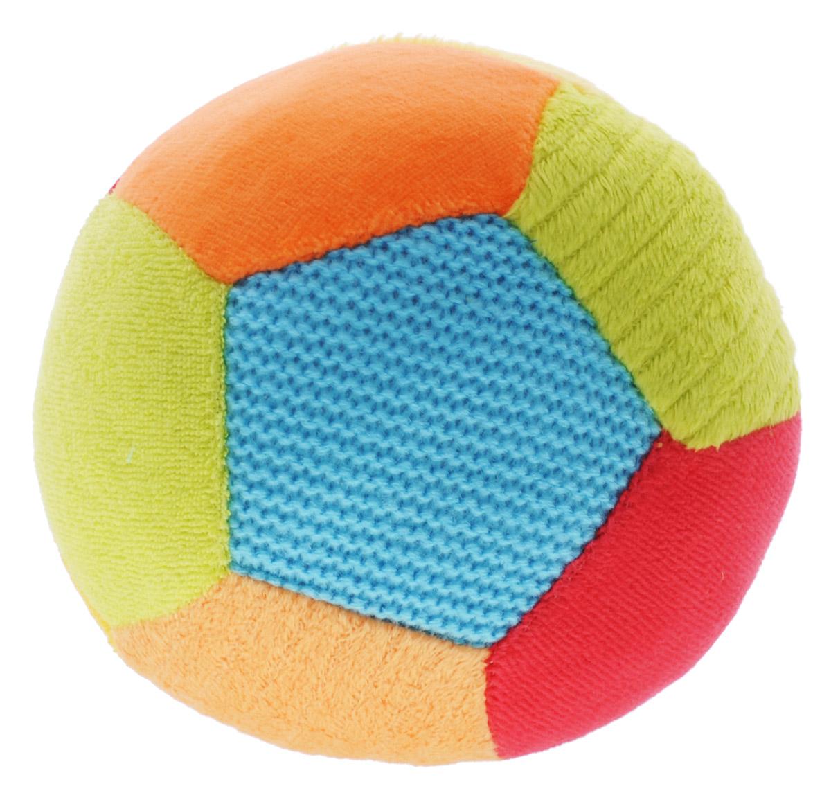 BabyOno Мягкая игрушка-погремушка Мячик цвет голубой оранжевый красный babyono мягкая кукла лили цвет коралловый