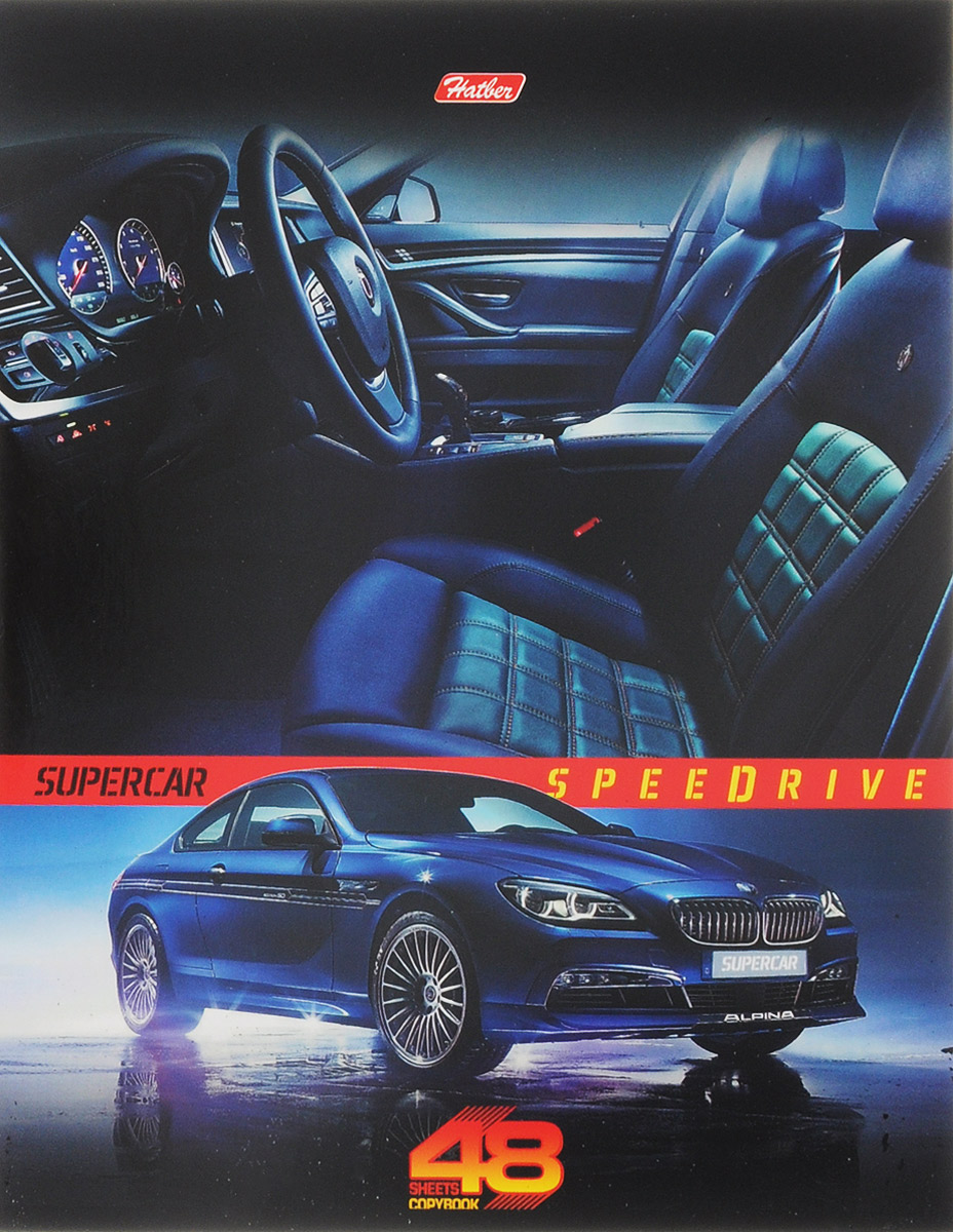 Hatber Тетрадь Super Car 48 листов в клетку цвет машины синий730396Тетрадь Hatber Super Car подойдет для школьников и студентов.Обложка, выполненная из плотного картона, позволит сохранить тетрадь в аккуратном состоянии на протяжении всего времени использования. Лицевая сторона дополнена изображением стильного авто марки BMW.Внутренний блок тетради, соединенный двумя металлическими скрепками, состоит из 48 листов белой бумаги. Стандартная линовка в клетку голубого цвета дополнена полями.