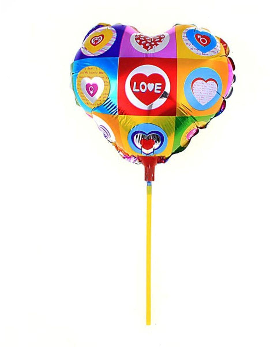 Sima-land Воздушный шарик Сердце 10 с палочкой цветное