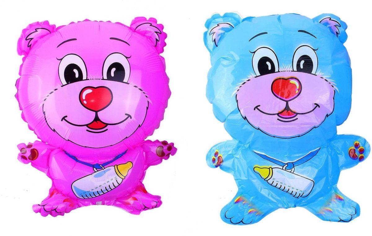 Sima-land Воздушный шарик Мишка с соской 18 цвет розовый