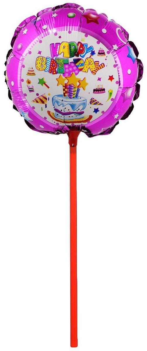 Sima-land Воздушный шарик Торт со свечами Круг 18 с палочкой