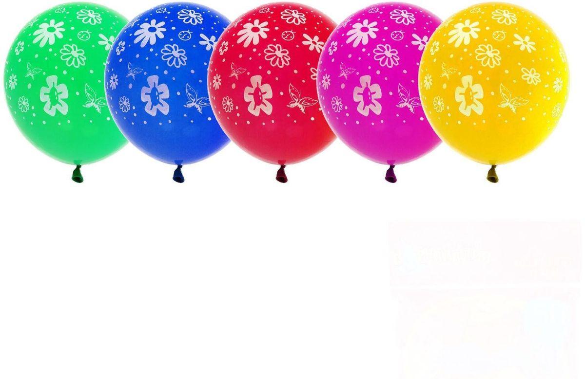 Страна Карнавалия Шар латекс 50 шт Цветы МИКС 10 -  Воздушные шарики