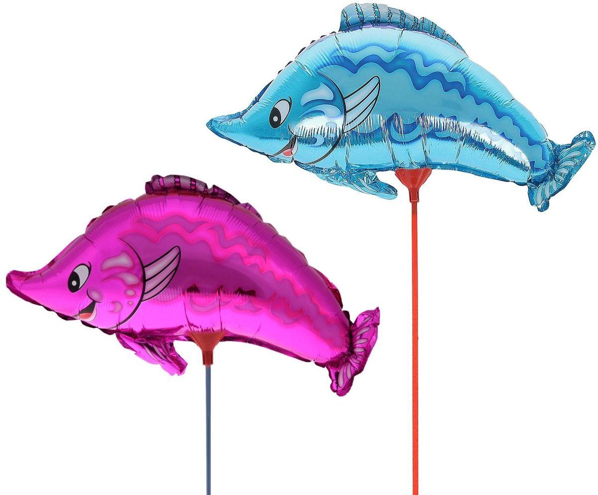 Sima-land Воздушный шарик Рыбка 10 с палочкой цвет розовый