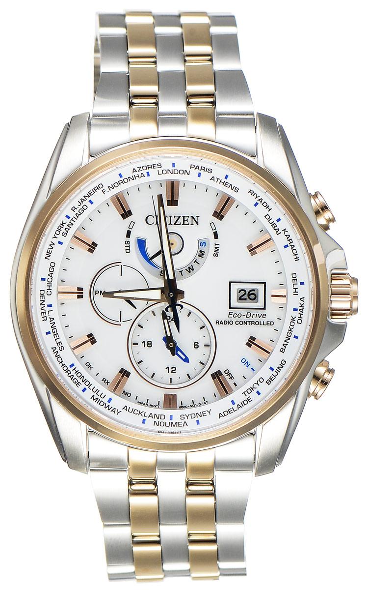 Часы наручные мужские Citizen Eco-Drive, цвет: белый, стальной. AT9034-54ABM8434-58AEСтильные многофункциональные мужские часы Citizen Eco-Drive выполнены из нержавеющей стали. Циферблат изделия оформлен символикой бренда.Часы оснащены функцией корректировки времени по радиосигналу, функцией отображения времени в формате 12/24, функцией второго часового пояса и будильником. Данные часы позволят посмотреть значение времени и даты в различных городах мира. Корпус часов обладает степенью влагозащиты 20 bar, а также оснащен антибликовым сапфировым стеклом. Циферблат дополнен индикатором числа, индикатором включения\выключения летнего времени, индикатором калибровки, индикатором города, индикатором дня недели и индикатором уровня заряда аккумулятора. Элегантный браслет, идеально дополняющий корпус изделия, оснащен застежкой-клипсой, которая позволит максимально комфортно снимать и надевать часы.Современная технология Eco-Drive позволяет заряжать аккумулятор изделия с помощью любого естественного или искусственного источника света.Часы поставляются в фирменной упаковке.Часы Citizen Eco-Drive подчеркнут мужской характер и отменное чувство стиля у их обладателя.