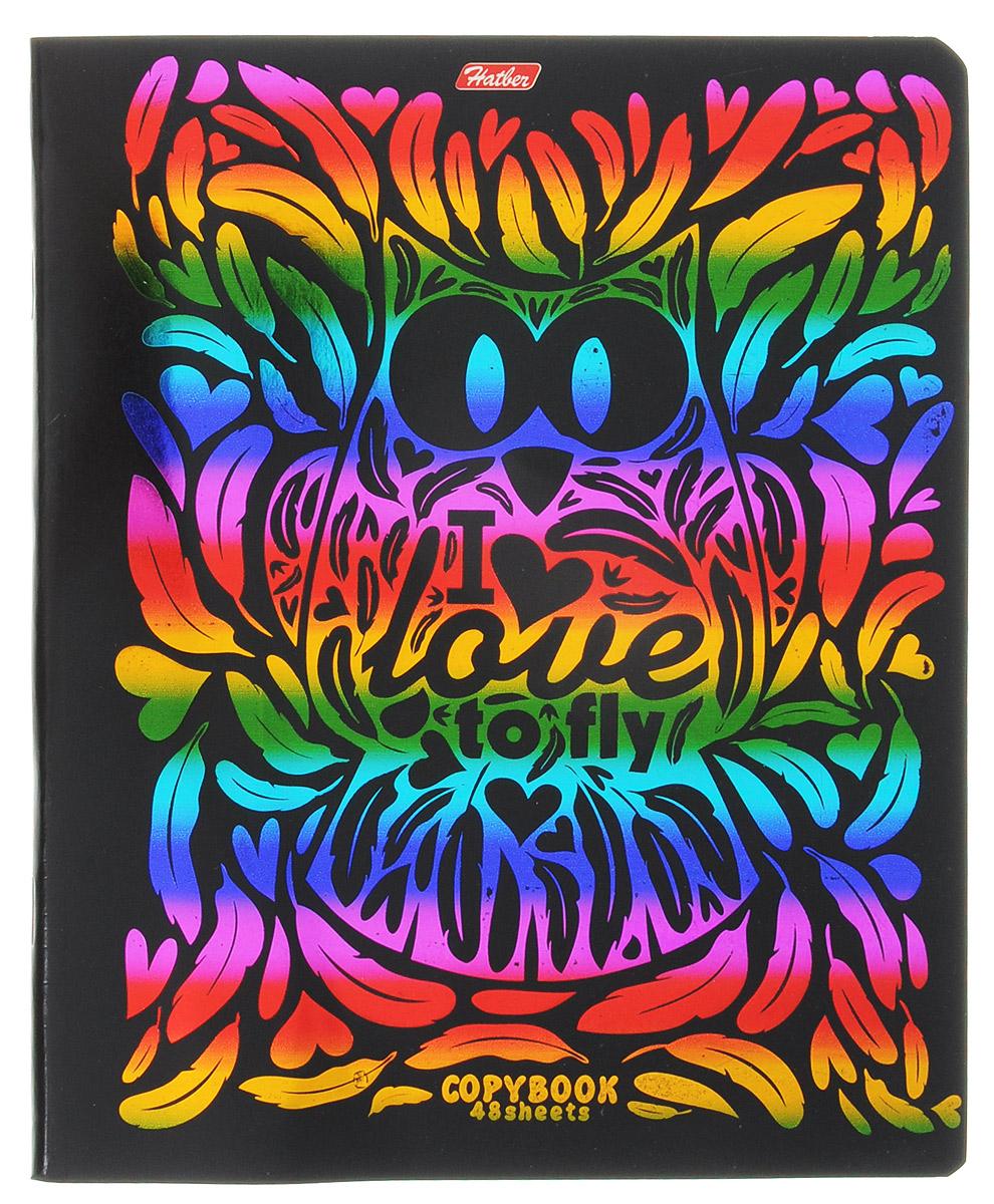 Hatber Тетрадь Калейдоскоп красок 48 листов в клетку 1454272523WDТетрадь Hatber Калейдоскоп красок подойдет школьнику, студенту для различных записей.Обложка тетради с закругленными углами выполнена из плотного картона, что позволит сохранить тетрадь в аккуратном состоянии на протяжении всего времени использования. Лицевая сторона тетради украшена тиснением радужной фольгой. Игра разноцветных металлизированных переливов в сочетании с оригинальными узорами дарит тетради магический эффект. Обложка оформлена в стилистике орнаментов, обладающих несомненной привлекательностью.Внутренний блок тетради, соединенный двумя металлическими скрепками, состоит из 48 листов белой бумаги. Стандартная линовка в клетку голубого цвета дополнена полями.