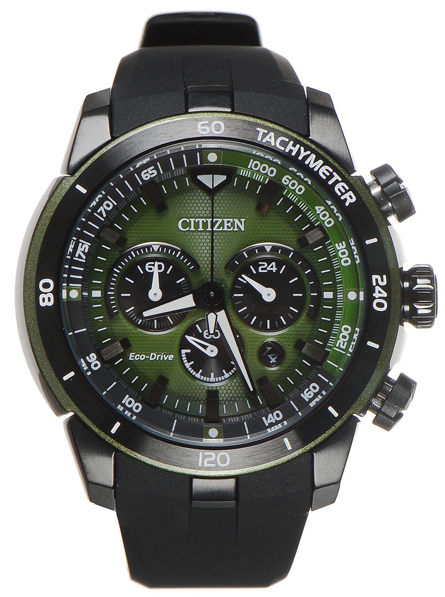 Часы наручные мужские Citizen Eco-Drive, цвет: черный, зеленый. CA4156-01W2513060Стильные многофункциональные мужские часы Citizen Eco-Drive выполнены из нержавеющей стали. Циферблат изделия оформлен символикой бренда.Часы оснащены тахиметрической шкалой, функцией хронографа, функцией отображения времени в формате 12/24 и секундомером. Корпус часов обладает степенью влагозащиты 10 bar, а также оснащен устойчивым к царапинам минеральным стеклом. Циферблат дополнен индикатором числа. Элегантный ремешок из полимерного материала, идеально дополняющий корпус изделия, оснащен практичной пряжкой, которая позволит максимально комфортно снимать и надевать часы.Современная технология Eco-Drive позволяет заряжать аккумулятор изделия с помощью любого естественного или искусственного источника света.Часы поставляются в фирменной упаковке.Часы Citizen Eco-Drive подчеркнут мужской характер и отменное чувство стиля у их обладателя.